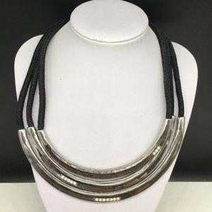 Chico's Black Rope Cord & Silver Tone Necklace
